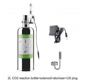 2L Aquarium CO2 Generator System Kit CO2 Stainless Steel Cylinder Generator System with Solenoid Valve Bubble Diffuser Carbon Dioxide Reactor Kit for Plants Aquarium