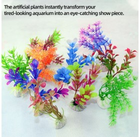 Artificial Aquarium Plants Fish Tank Decorations Plastic Aquarium Plants 10 PCS