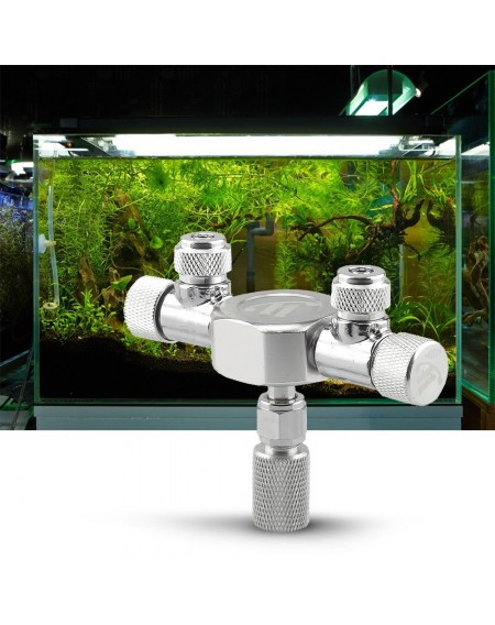 Aquarium Tank CO2 Splitter Regulator Distributor Needle Fine Adjusting Valve for CO2 Regulator with 2 Way Outlets