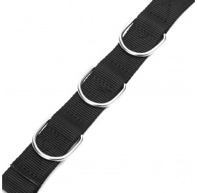 Adjustable Dog Grooming Belly Strap D-rings Bathing Band Free Size Pet Traction Belt (Black)