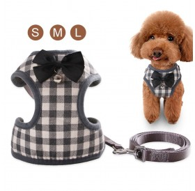 Pet Vest Harness Set w/Leash Adjustable Chest Strap for Small Dog Cat Puppy Bichon Frise Schnauzer Pomeranian