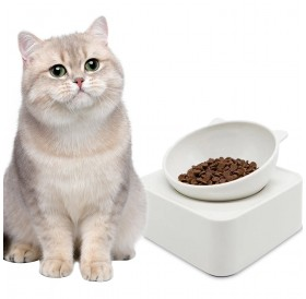 350g Cat Bowl Cat-Shaped Pet Feeders Magnetic Adjustable Raised Non-Slip Pet Bowl Portion Control Food Bowl for Pet Cat Dog