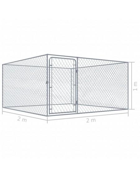 Outdoor galvanized steel kennel 2x2x1 m
