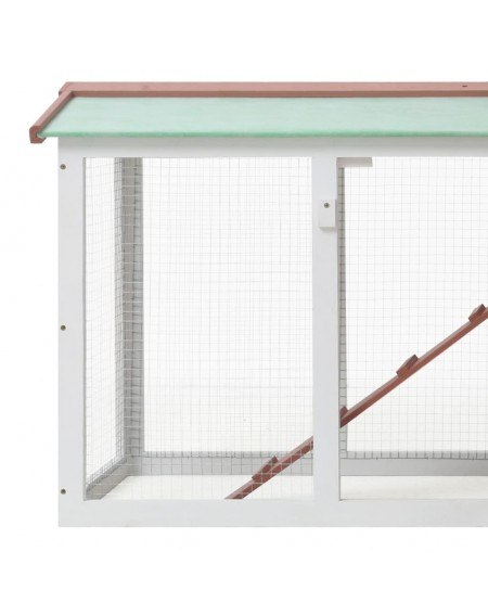 Large rabbit hutch brown and white 145 x 45 x 85 cm wood