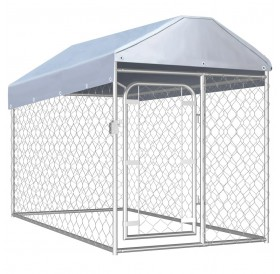 Outdoor kennel with roof 200x100x125 cm