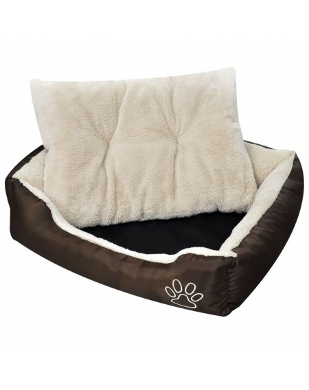 Dog Bed with soft padding size L Brown