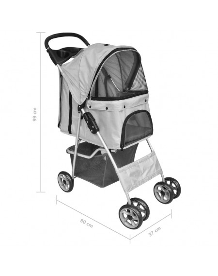 Dog / cat pet buggy foldable travel cart gray