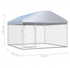 Outdoor kennel with roof 200x200x135 cm