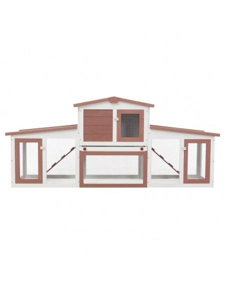 Large outdoor hutch Brown and white 204x45x85 cm Wood