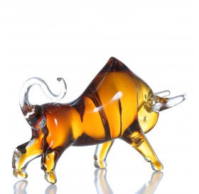 Tooarts Yellow Cattle Glass Sculpture Home Decor Animal Ornament Gift Craft Decoration