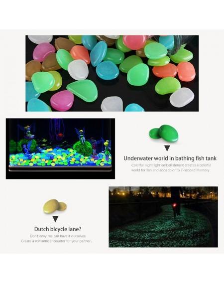 100PCS Glowing Stones For Decorations Fish Tank Aquarium Luminous Stone Indoor Outdoor Zen Garden Stones Rocks Glow in the Dark Pebbles