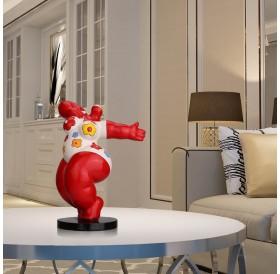 Dancing Fat Woman Tooarts Fiberglass Sculpture Exaggerative Modeling Decorative Ornament
