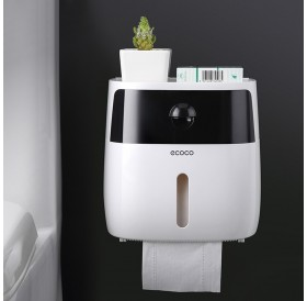 Toilet tissue box toilet toilet paper rack toilet box free punch waterproof roll paper tube creative pumping tray Double Tissue Box-Black + White