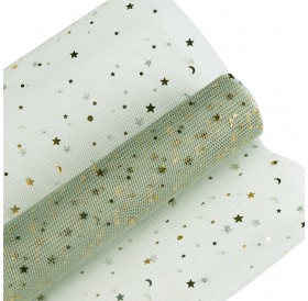 5Y/Roll Mesh Wrapping Material Sequins Star Moon Lace Flower Gift DIY Wrapping Packaging Decoration