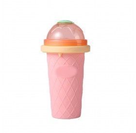 Net red with the homemade diy ice cream smoothie cup juice cup children's summer double-layer fast cooling pinch cup Pink