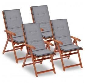 Garden chair edition highback 4 pcs. Gray 120 x 50 x 3 cm