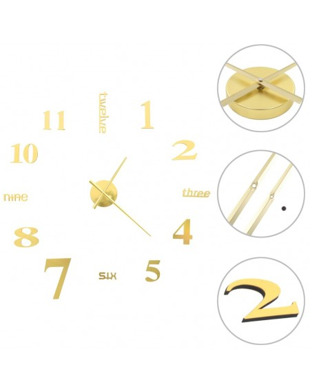 3D wall clock Modern design 100 cm XXL Golden