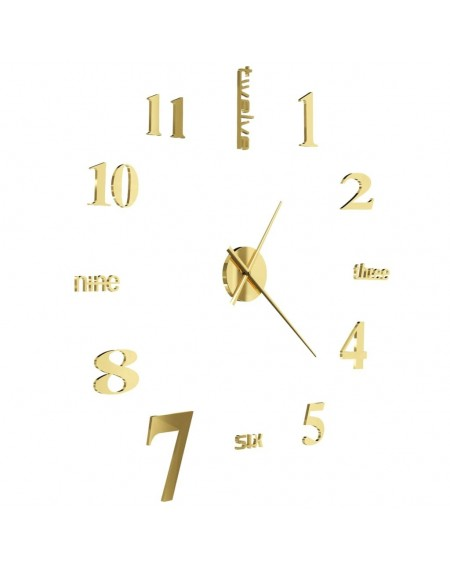 3D wall clock Modern design 100 cm XXL Golden