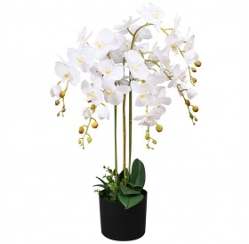 Artificial orchid with pot 75 cm white