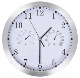Wall clock with quartz movement, hygrometer and thermometer 30 cm white