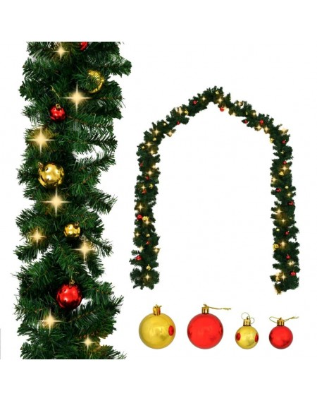 Christmas garland decorated with balls and LED lights 5 m