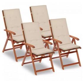 Garden chair pad high back 4 pieces cream 120 x 50 x 3 cm