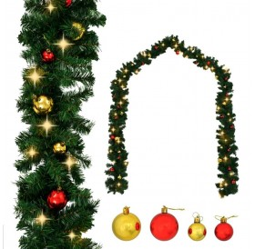 Christmas garland Adorned with balls and LED lights 10 m