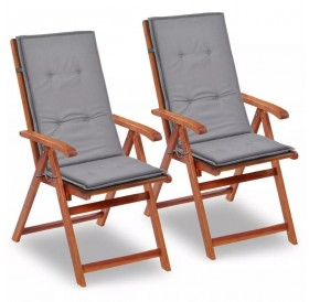 Garden chair overlay high back 2 pcs.Grey 120 x 50 x 3 cm