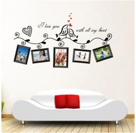 Love Birds Photo Frame Art Wall Stickers Decal Romantic Wedding Room Decor