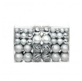 100 pcs. Christmas ball set 6 cm silver