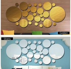 26pcs/set Acrylic Polka Dot Wall Mirror Stickers Room Bedroom Kitchen Bathroom Stick Decal Home Party Decoration Decor Art Mural Stickers DIY Decals Art Decal Room Decoration
