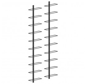 Wall wine racks for 20 bottles, 2 pieces. Black metal