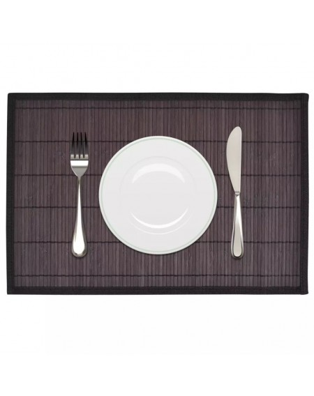 6 bamboo placemat 30 x 45 cm dark brown