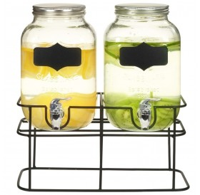 Drink dispenser 2 pcs. With stand 2 x 4 L glass