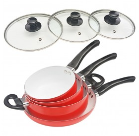7 pcs. Cookware Set Red Aluminum