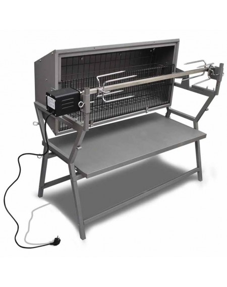 BBQ grill with rotisserie iron and steel