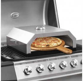 Pizza oven with ceramic stone for gas charcoal grill