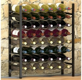 Wine rack for 48 bottles black metal