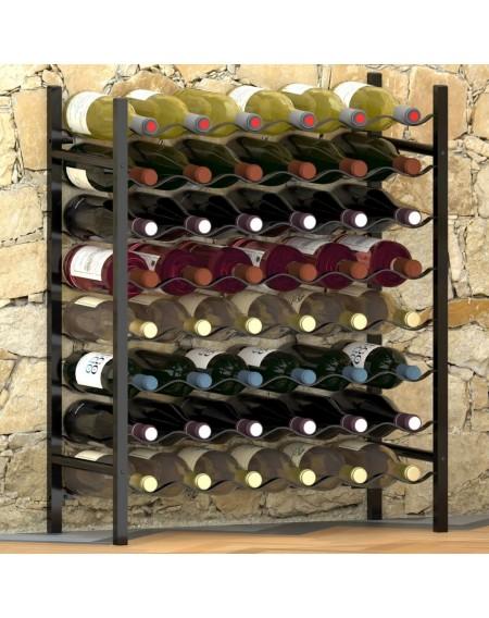 Wine rack for 48 bottles black metal