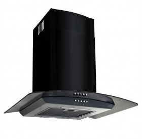 Extractor hood Wall mounted stainless steel 756 m³ / h 60 cm Black