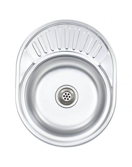 Built-in sink with strainer and oval siphon made of stainless steel