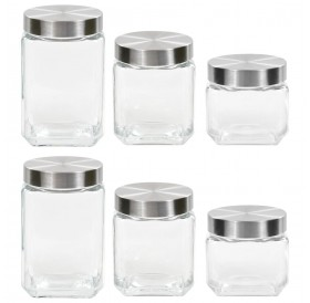 Storage jars with silver lid 6 pcs. 800/1200/1700 ml