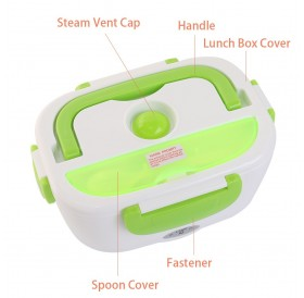 Multifunctional Portable Electric Heating One-piece Separated Lunch Box Food Container Warmer with A Spoon