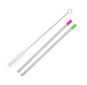 Useful Reusable 304 Stainless Steel Straw with Dust Cap Milk Tea Straws with Brush Party Drinking Accessories