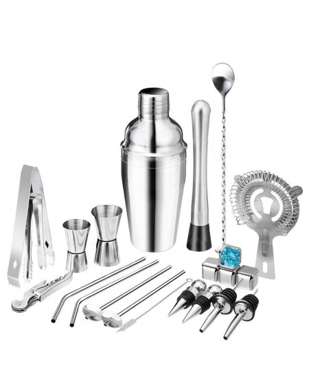 22pcs Bar Cocktail Set Boston Shaker Drink Making Kit Stainless Mixer Making Gift