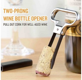 4pcs Two-Prong Cork Puller with Cover Wine Opener Bottle Opener Stainless Steel Corkscrew for Vintage Bottle