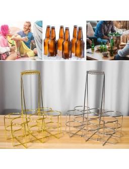 6 Bottle Beer Holder Party Beer Basket Rack Wine Caddy Stand for BBQ Hotel Bar Wine Beer Bottles