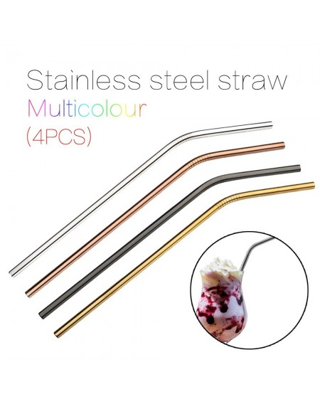 4pcs Multicolor Reusable Stainless Steel Straws Eco-friendly Bent Straw Drinking Metal Straws Random Color