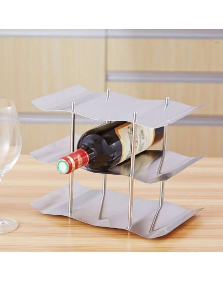 3 Tiers 9-bottles Stainless Steel Kitchen Tabletop Countertop Freestanding Wave Wine Rack Display Shelf Holder