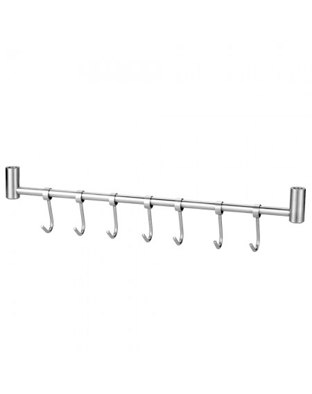 Multi-purpose 304 Stainless Steel Wall-mounted Hook Rack Hanger Storage Organizer for Kitchen Bathroom with 7pcs Moveable Hooks